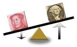 Dólar de EE. UU. de levantamiento contra Renminbi descendente Imagen de archivo