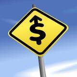 Dólar de la flecha a la señal de dirección de tráfico del dinero Imágenes de archivo libres de regalías