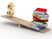 Dólar de la muestra y los libros en escalas Fotografía de archivo