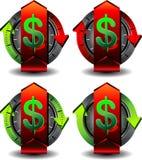 Dólar del botón Imagenes de archivo