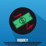 Dólar del dinero en un círculo con la flecha Imagen de archivo libre de regalías