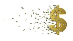 Dólar e dinheiro do ouro da velocidade Fotografia de Stock Royalty Free