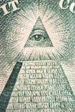 Dólar - ojo y pirámide Imágenes de archivo libres de regalías