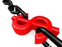 Dólar y cadena rojos Fotografía de archivo libre de regalías