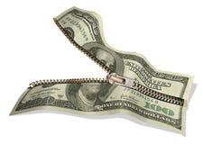 Dólar y cremallera Fotos de archivo libres de regalías