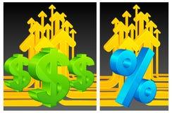 Dólar y el por ciento en fondo de las flechas Fotos de archivo libres de regalías