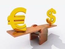 Dólar y euro en el balancín Imagenes de archivo