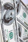 Dólares 100 de frente de los billetes de banco Foto de archivo