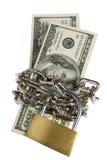 Dólares com a corrente no branco Imagem de Stock