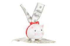 Dólares de palillo fuera del moneybox del cerdo Fotos de archivo libres de regalías