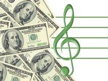 Dólares e clef de triplo Imagens de Stock