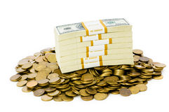 Dólares e moedas isolados Imagens de Stock
