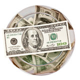 Dólares em um frasco Fotos de Stock Royalty Free