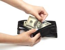 Dólares na bolsa Fotografia de Stock Royalty Free