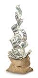 Dólares que caen en el bolso Imagenes de archivo