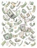 Dólares que llueven bote del dinero Fotos de archivo
