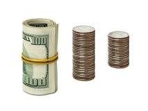Dólares y centavos Fotos de archivo
