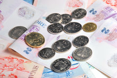 Dólares y centavos de Singapur Fotos de archivo