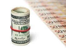 Dólares y euros Imagen de archivo