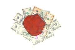 Dólares y monedero Fotos de archivo