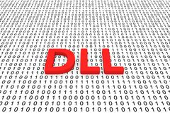 DLL. In the binary code 3D illustration stock illustration