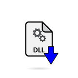 DLL file with blue arrow download button. On white background Royalty Free Stock Photo