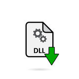 DLL file with green arrow download button. On white background Stock Images