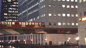 DLR Train in Canary Wharf stock footage