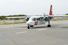 DLT Airplane at Helgoland Airport Royalty Free Stock Photo