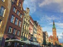 Dluga gata i den Gdansk staden Polen Fotografering för Bildbyråer