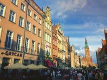Dluga gata i den Gdansk staden Polen Arkivfoto