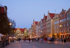 Dluga street at night, Gdansk Stock Image