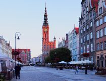 Dlugi Targ Street in Gdansk, Poland Royalty Free Stock Images