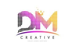 DM D M信件与洋红色小点和Swoosh的商标设计 库存图片