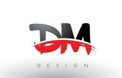 DM D M Brush Logo Letters con el frente rojo y negro del cepillo de Swoosh Imagenes de archivo