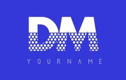 DM D M Dotted Letter Logo Design con el fondo azul Fotos de archivo libres de regalías