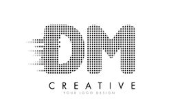 DM D M Letter Logo con los puntos y los rastros negros Imágenes de archivo libres de regalías