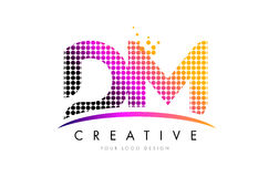 DM D M Letter Logo Design with Magenta Dots and Swoosh Stock Images