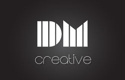 DM D M Letter Logo Design With White and Black Lines. DM D M Creative Letter Logo Design With White and Black Lines royalty free illustration