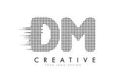 DM D M Letter Logo med svartprickar och slingor Royaltyfria Bilder