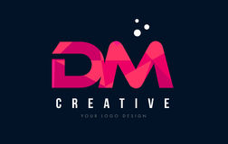 DM D M Letter Logo with Purple Low Poly Pink Triangles Concept Royalty Free Stock Photos