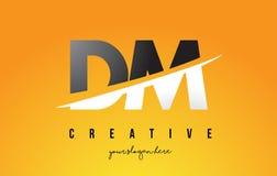 DM D M Letter Modern Logo Design mit gelbem Hintergrund und Swoo vektor abbildung