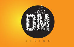 DM D M Logo Made av små bokstäver med svart cirkel och guling B Royaltyfri Foto