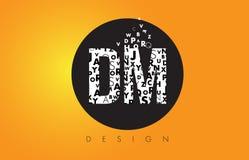 DM D M Logo Made de pequeñas letras con el círculo negro y B amarillo Foto de archivo libre de regalías