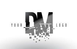 DM D M Pixel Letter Logo com quadrados pretos quebrados Digitas Imagem de Stock Royalty Free
