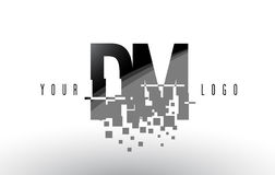 DM D M Pixel Letter Logo med Digital splittrade svarta fyrkanter Royaltyfri Bild