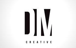 DM D M White Letter Logo Design con la casilla negra Imagen de archivo