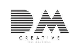 DM D M Zebra Letter Logo Design med svartvita band Arkivfoton