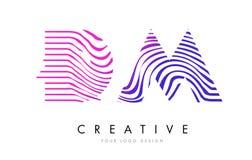 DM D M Zebra Lines Letter Logo Design com cores magentas Foto de Stock Royalty Free