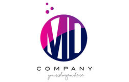 DM M D Circle Letter Logo Design avec Dots Bubbles pourpre Photo libre de droits
